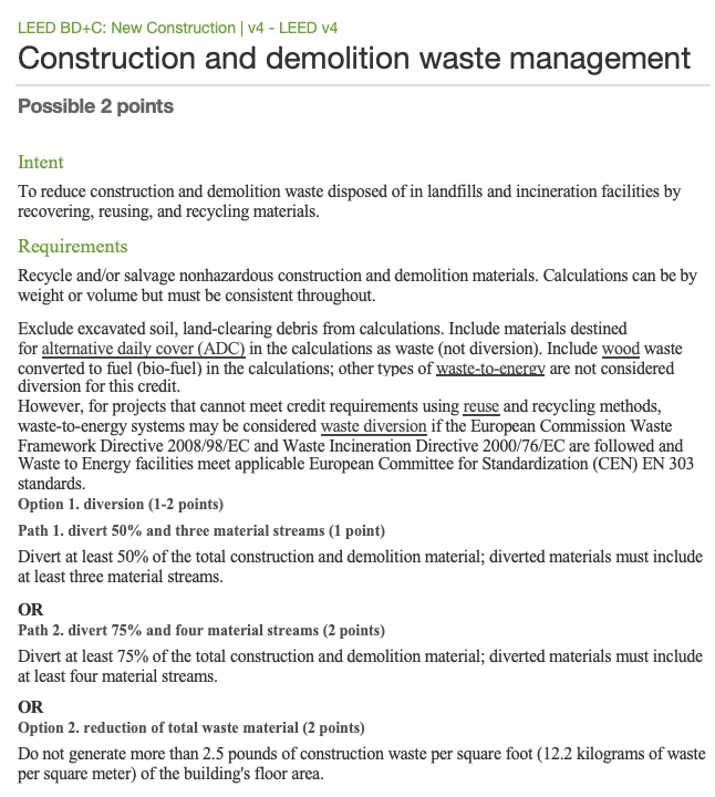 LEED Guidelines - LEED Construction Waste Management